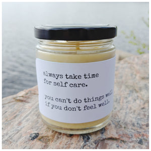 ALWAYS TAKE TIME FOR SELF CARE beeswax candle - Countryside Treasures