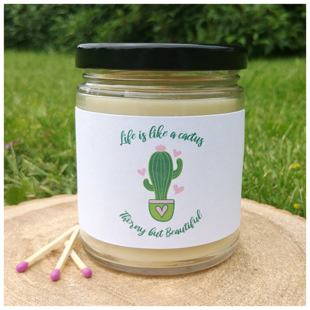 LIFE IS LIKE A CACTUS, THORNY BUT BEAUTIFUL beeswax candle - Countryside Treasures