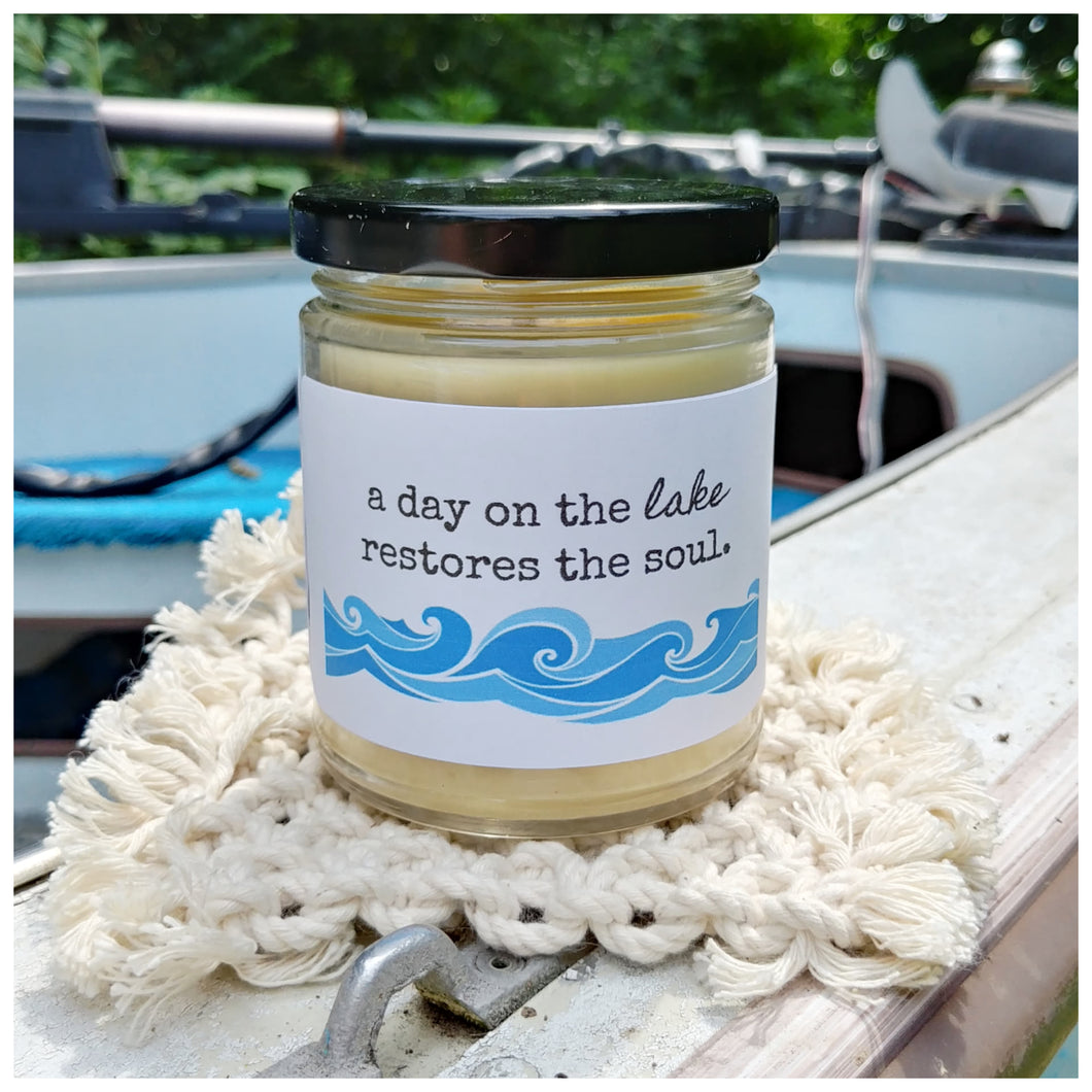 A DAY ON THE LAKE RESTORES THE SOUL - Handmade Beeswax Candle | Countryside Treasures