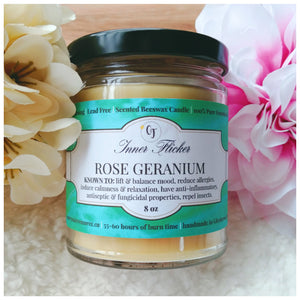 ROSE GERANIUM beeswax candle - WELLNESS COLLECTION - Countryside Treasures