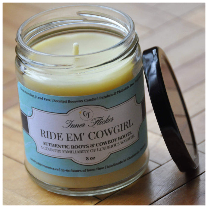 RIDE EM' COWGIRL (Genuine Leather) beeswax candle - Countryside Treasures