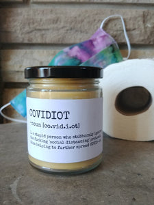 COVIDIOT - Handmade Gifts that are funny AF - Small Batched and Locally Made Beeswax Candles - Essential Worker, Coworker, Nurse, Care Gift | Countryside Treasures
