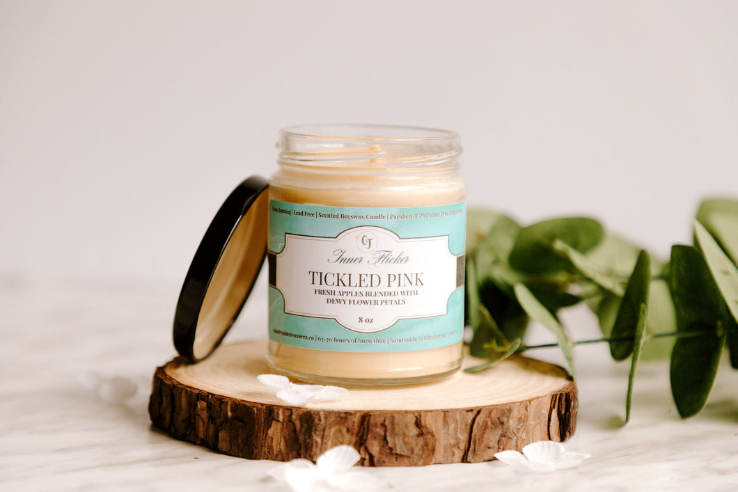 TICKLED PINK - Apples & Flower Petals beeswax candle - Spring Collection | Countryside Treasures