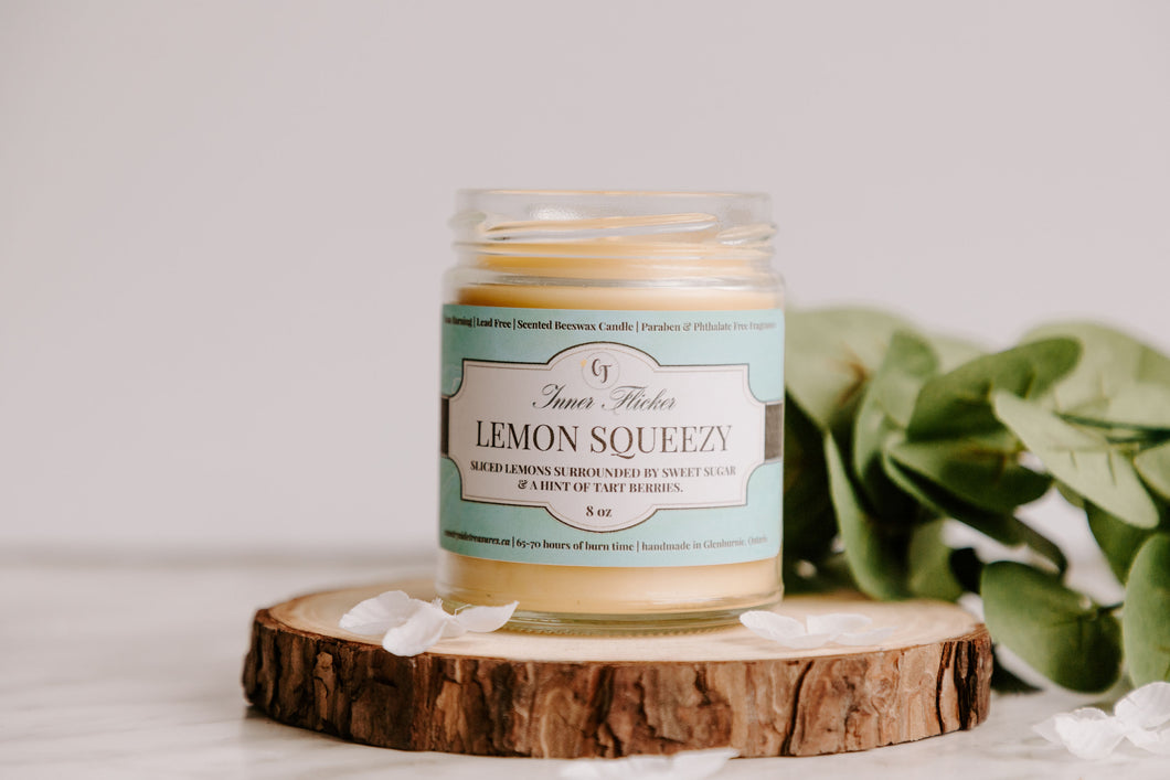 LEMON SQUEEZY - Sugared Lemon beeswax candle - Countryside Treasures | Summer Collection