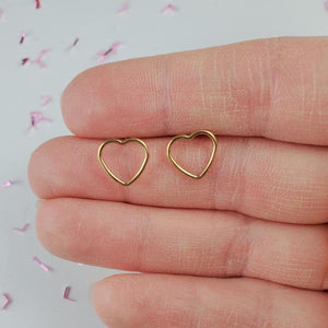 Gold Heart Earrings - Wanderbird | Handmade Self Care Gifts | Countryside Treasures
