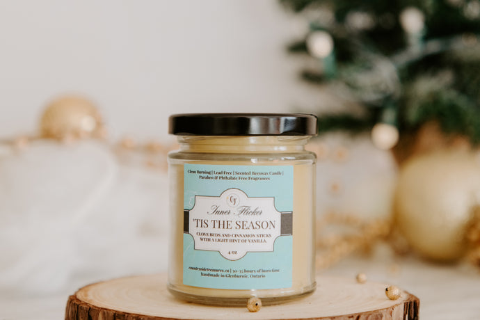 'TIS THE SEASON (Clove, Cinnamon & Vanilla) scented beeswax candle - Countryside Treasures
