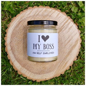 I LOVE MY BOSS | I'M SELF EMPLOYED beeswax candle - Countryside Treasures