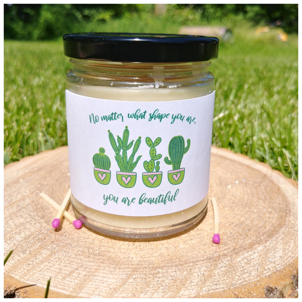 NO MATTER WHAT SHAPE YOU ARE | YOU ARE BEAUTIFUL beeswax candle - Countryside Treasures