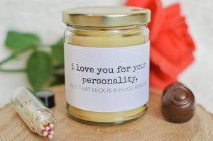 I LOVE YOU FOR YOUR PERSONALITY - Valentine's Gift | Love Collection - Scented Beeswax Candle | Countryside Treasures