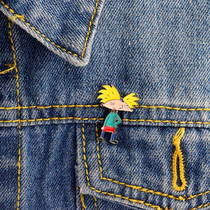 hey arnold character jacket pin on a jean jacket lapel