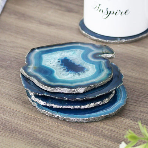 Teal Agate Coasters with Silver Edge - Eclectic Thought Catalog