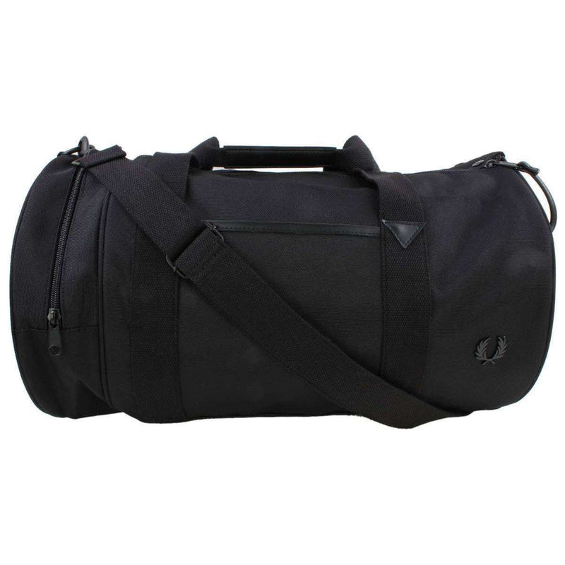 Fred Perry Black Nylon Barrel Bag