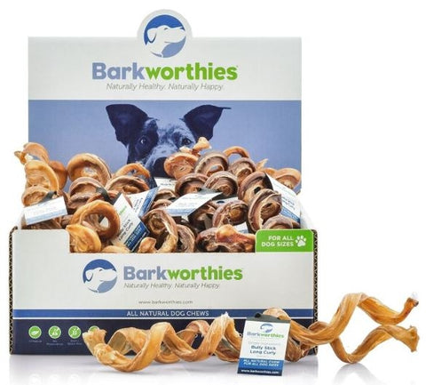 Barkworthies Long CurlyBully Sticks Dog Treats
