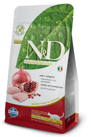 Farmina N&D Natural and Delicious Grain Free Neutered Adult Chicken & Pomegranate Dry Cat Food