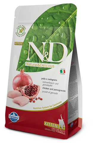 Farmina N&D Natural and Delicious Grain Free Kitten Chicken & Pomegranate Dry Cat Food