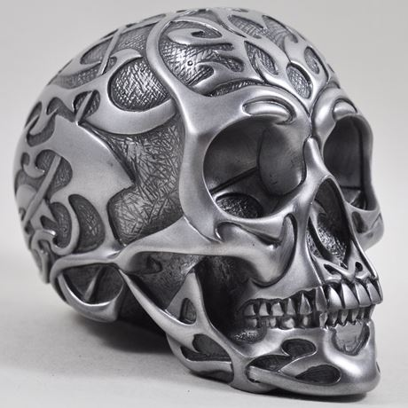 Tribal Skull 2 In Silver Finish by Design Clinic 13cm - Medium