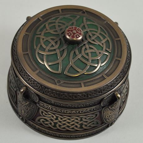 Round Celtic Trinket Box 9.5cm