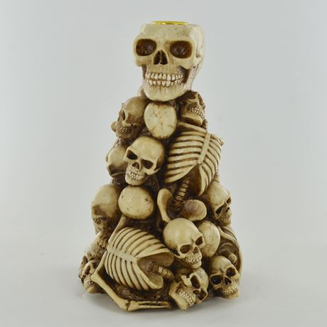 Skull and Skeleton Stack Candle Holder 20cm