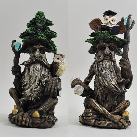 Tree Ent Books and Owl Set of Two 19cm