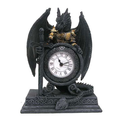 Dragon in Armour Clock 20cm