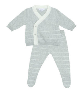 Euro Knit Take Me Home 3 Piece Set in Contemporary Gray Stripe