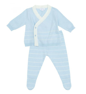 Euro Knit Take Me Home 3 Piece Set in Contemporary Blue Stripe