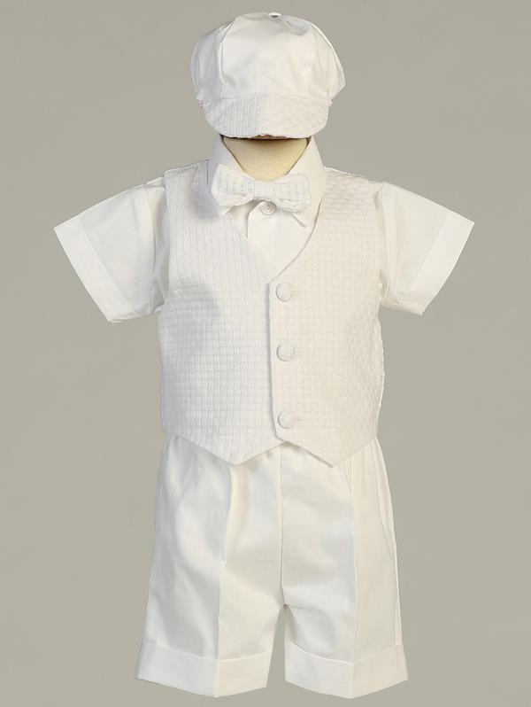Boys Cotton Christening Short/Vest Set with Hat