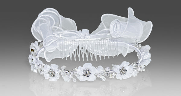 Style 1467 Communion Headpiece - Organza Flowers & Stones with Veil