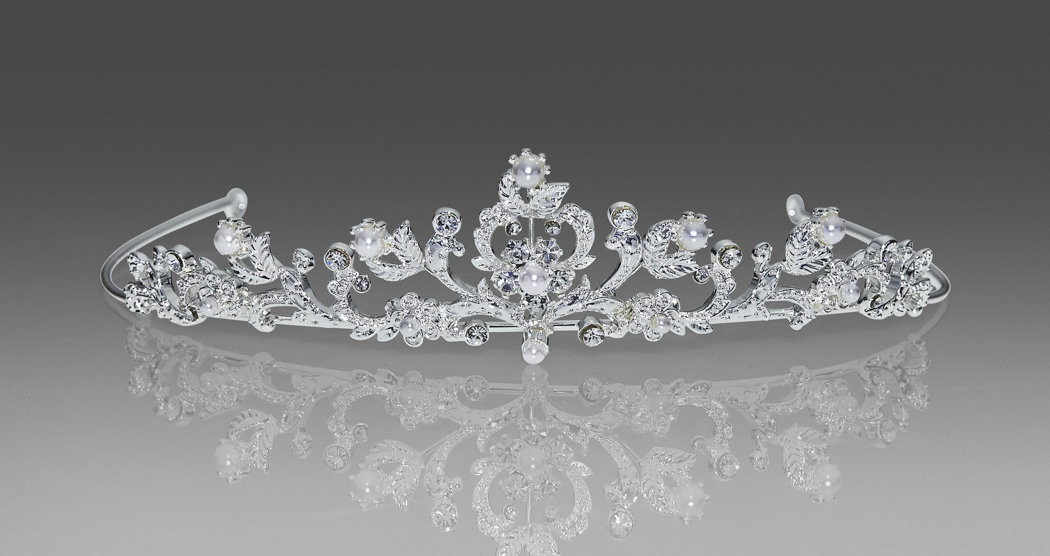 Style 1541 Communion Headpiece -  Rhinestone and Pearl Tiara with Veil