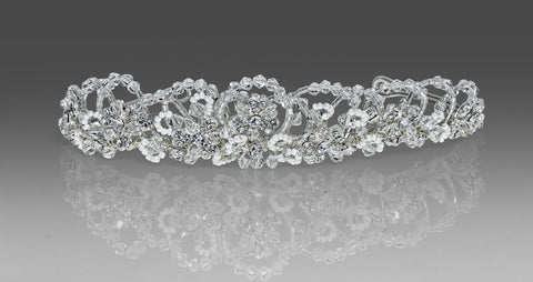 Communion Headpiece - Swarovski Crystal Beaded Scalloped Edge with Veil