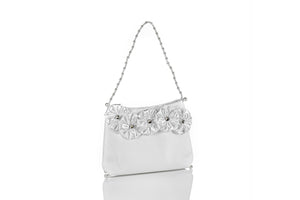 2694 Communion Purse - White Purse with Satin Flowers & Stones