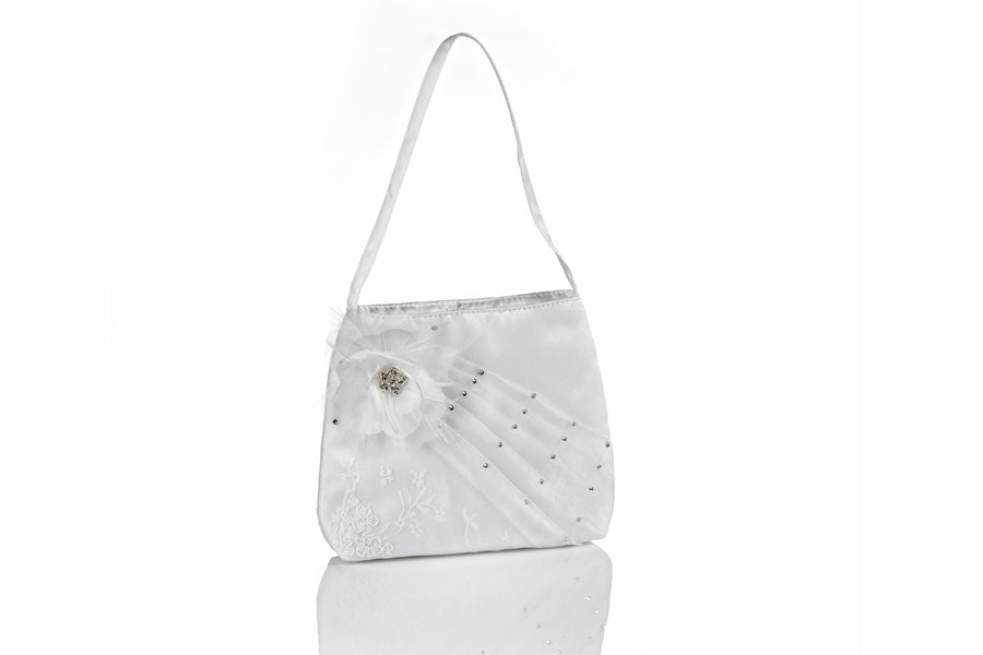 2695 Communion Purse - Satin with White Lace Underlay