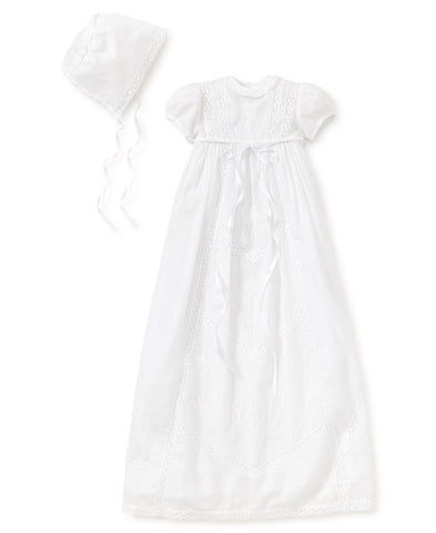 Victoria Cotton Christening L/S Gown with Bonnet