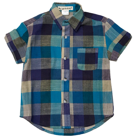 Everet Camp Button Down Short in Blue Plaid