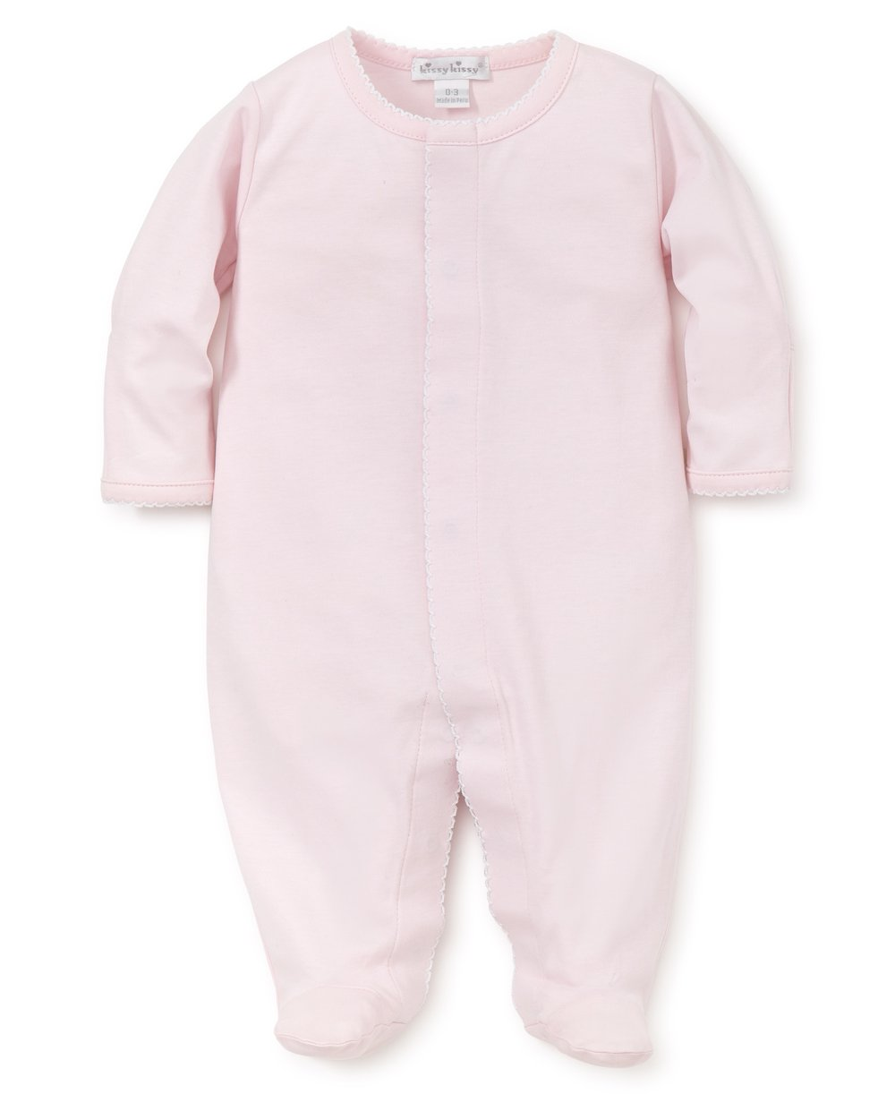 Pima Cotton Baby Pink Snap Footie