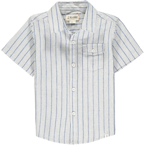 Boys S/S Button Down Shirt in Blue & Gray Stripe