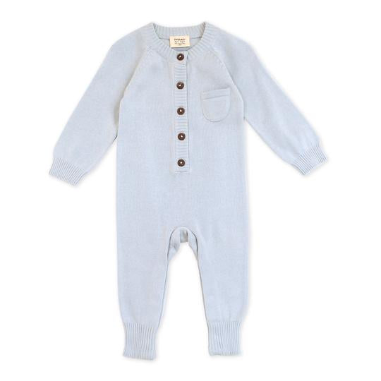 Organic Cotton Knit Coverall in Blue