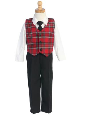 Boys Plaid Holiday Vest with Black Pants