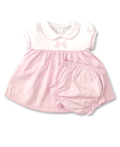 Pique Baby Bunny Pink Dress Set