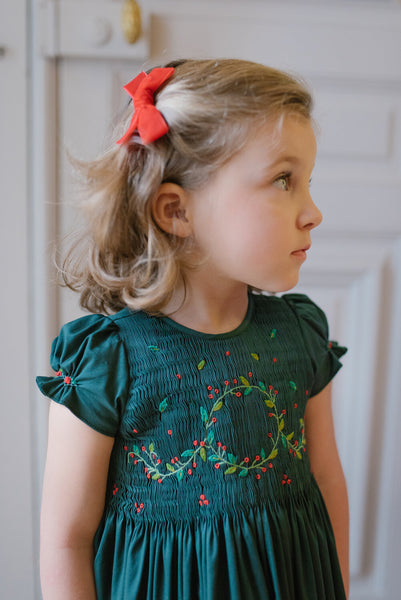 Girls Smocked Holiday Dress in Clara Green