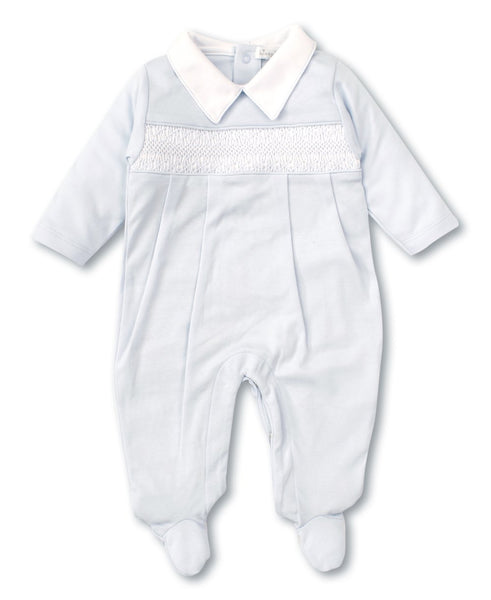 Hand Smocked CLB Footie & Hat Set in Blue