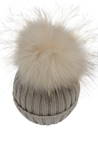 Baby / Toddler Knit Pom Pom Hat in Cappuccino
