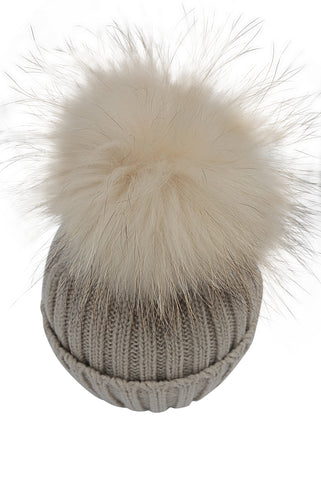Kid Knit Pom Pom Hat in Cappuccino