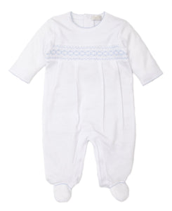 Hand Smocked CLB Footie & Hat Set in White / Blue