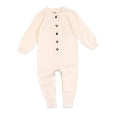 Organic Cotton Knit Coverall in Cream