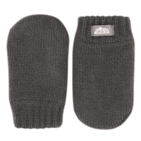 Baby Knit Mittens in Dark Gray