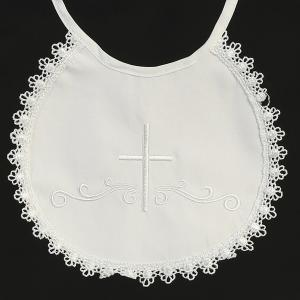 Embroidered Cotton Christening Bib with Cross and Lace Trim