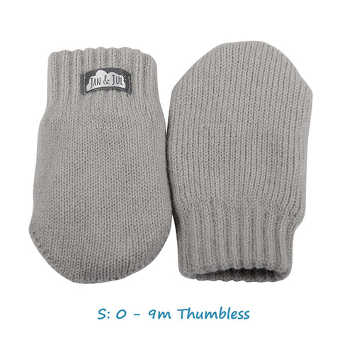 Baby Knit Mittens in Light Gray