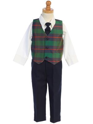 Boys Green Plaid Holiday Vest with Blue Pants