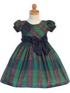 Girl Green Plaid Holiday Dress